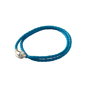 Blue rope bracelet with a silver clasp