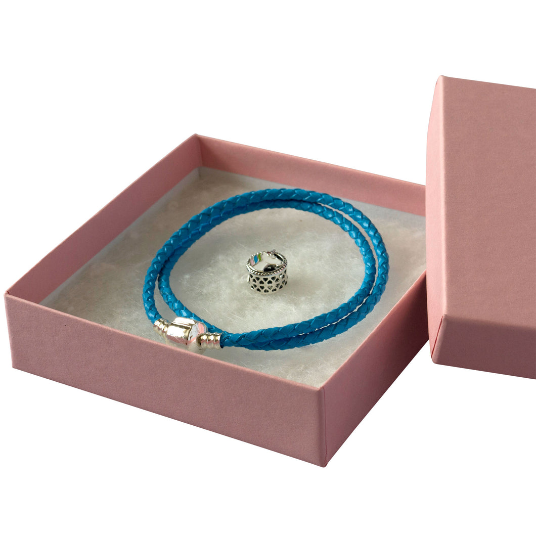 Blue rope bracelet with a silver clasp, Silver Unicorn charm and a Pink gift box