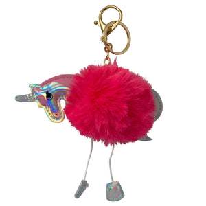 Dark Red fluffy Unicorn keyring or handbag charm with a Silver head, feet and tail. Supplied by www.aunicornsdream.co.uk