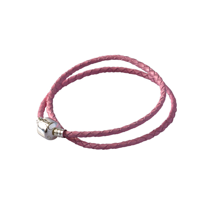 Pink rope bracelet with a silver clasp