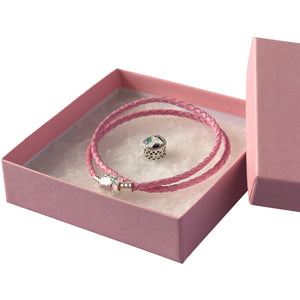 Pink rope bracelet with a silver clasp, Silver Unicorn charm and a Pink gift box