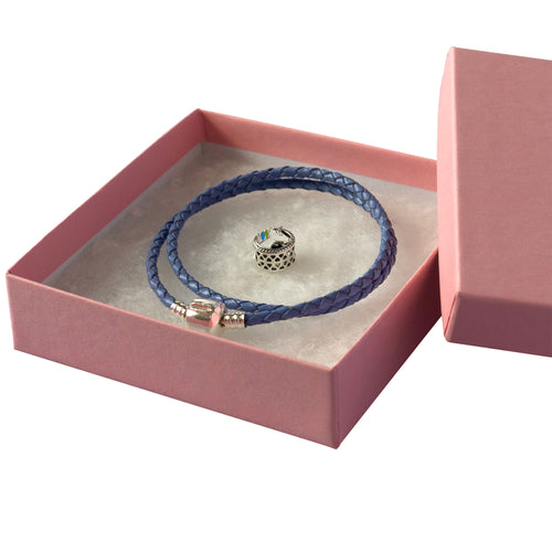 Purple rope bracelet with a silver clasp, Silver Unicorn charm and a Pink gift box