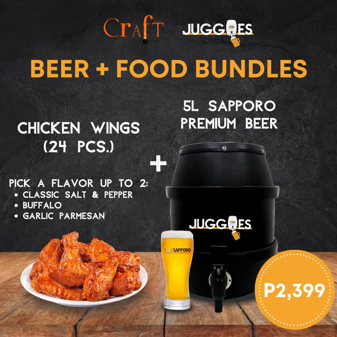 Sapporo Premium Lager + Craft Rock & Grill Chicken Wings (24 pieces) | 5L Bundle