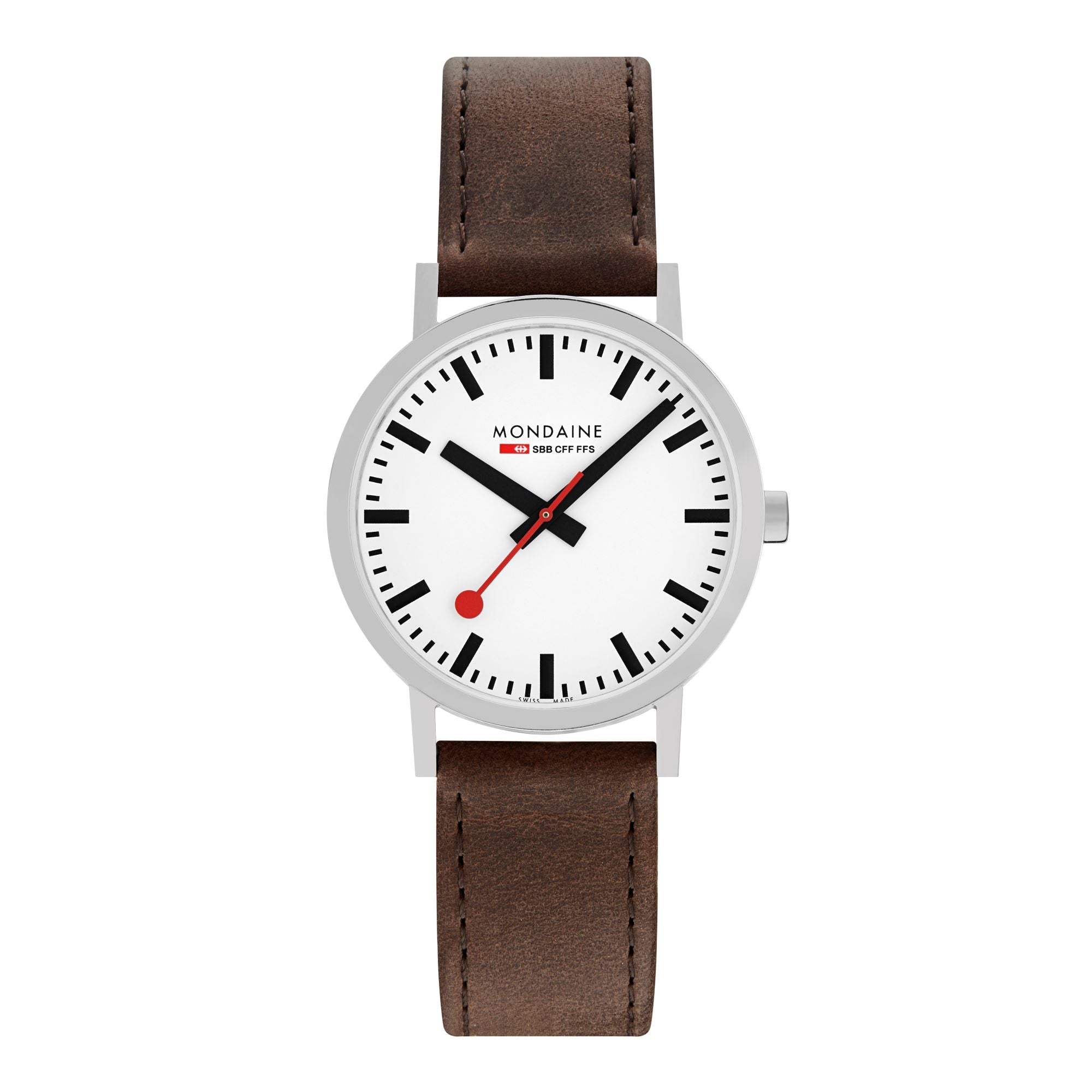 Mondaine Classic, 40 mm, brown leather watch