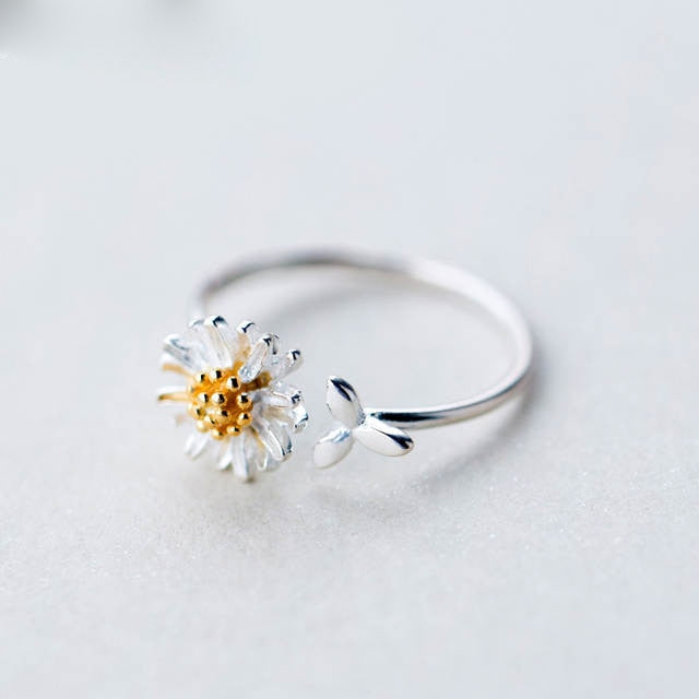 Silver Daisy Flower Rings