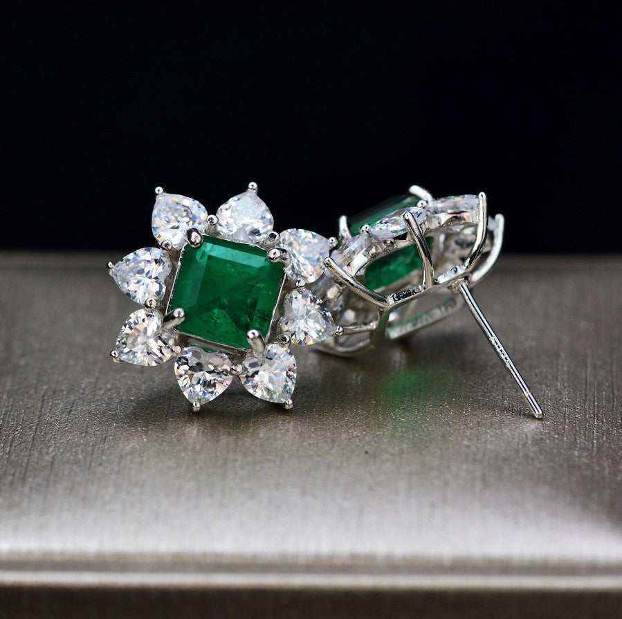 925 Sterling Silver Emerald Gemstone Sets