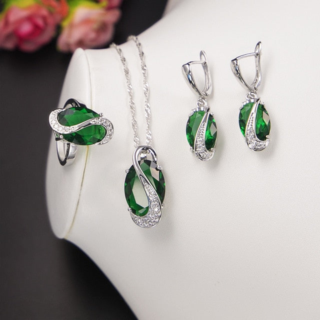 Green Emerald Jewelry Sets