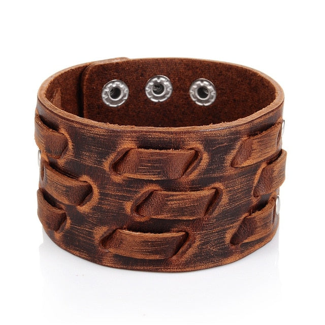 Wide Genuine Leather Bracelet For Men
