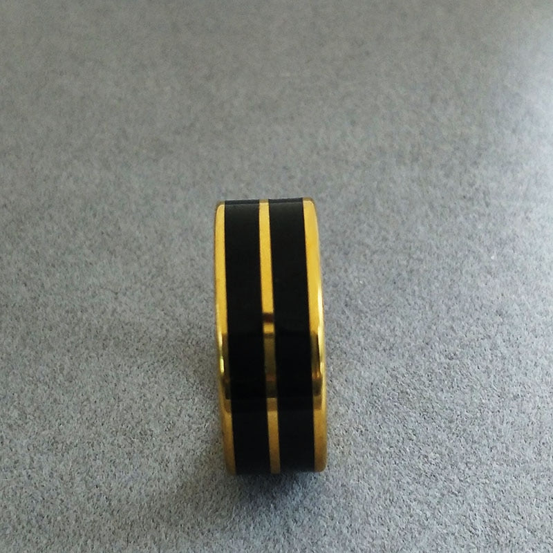 Black Enamel Stainless Steel Rings