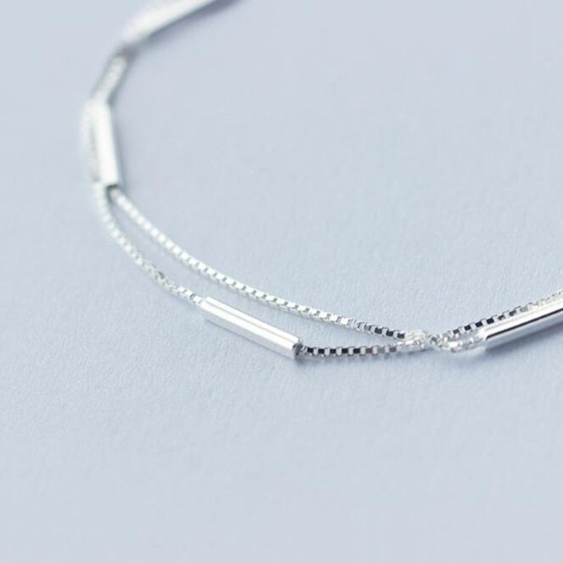 Simple Bar Round Stick Double Bracelet