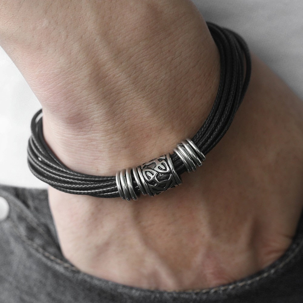 Unique Vintage Men's Black Multilayer Bracelet