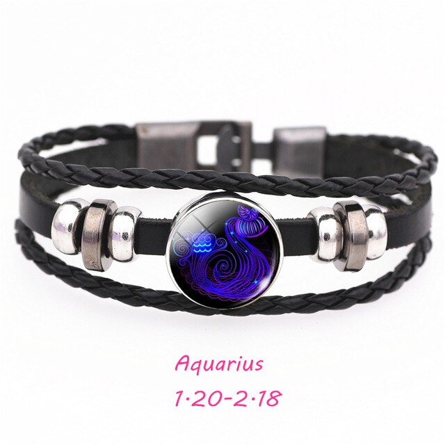 Zodiac Sign Black Buckle Leather Bracelet
