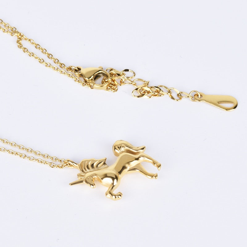 Stainless Steel Gold Color Horse Pendant
