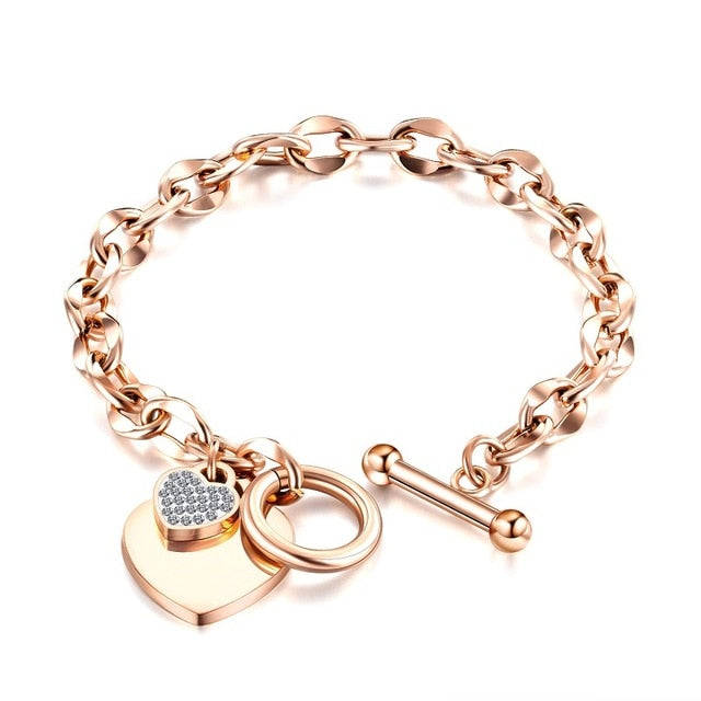 Heart-shaped Zircon Bracelet Rose Gold