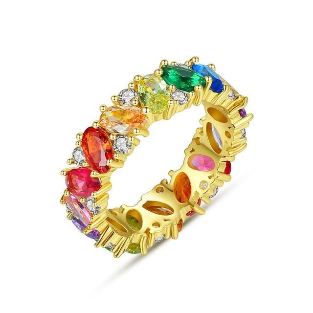 Gold Rainbow CZ Crown Rings