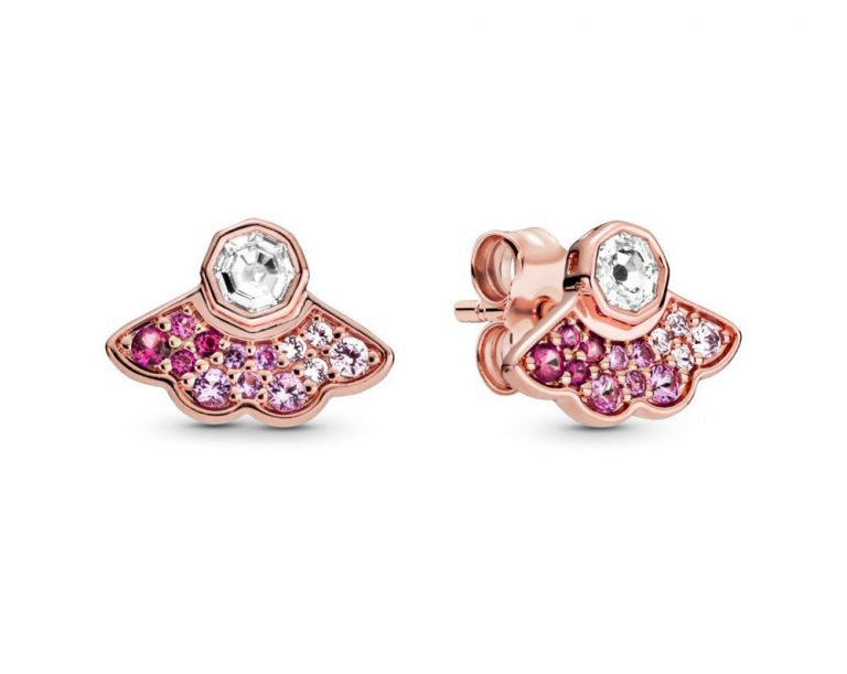 Silver Pink Fan Stud Earrings