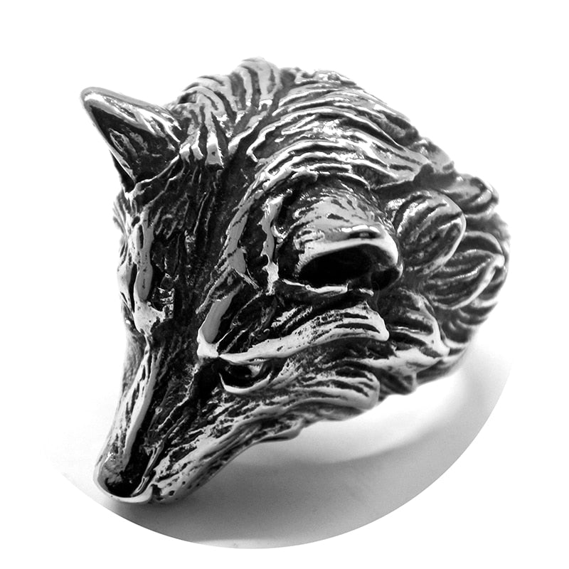 Wolf Head Stainless Steel Men Ring