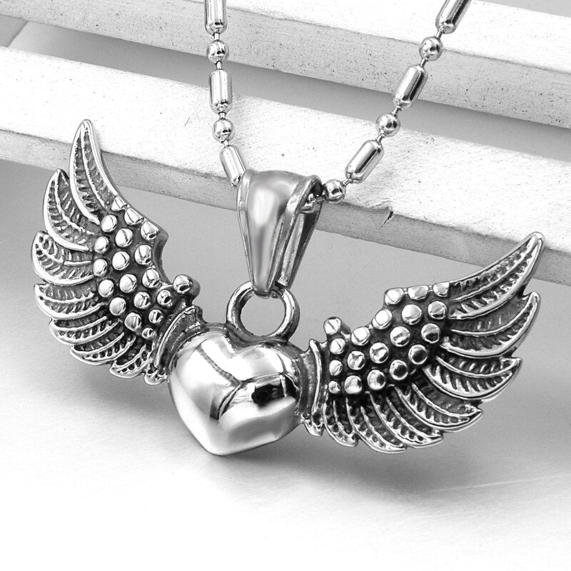 Angel Flying Wings Heart Pendant