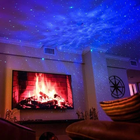 Galaxy Projector with nebula light on walls