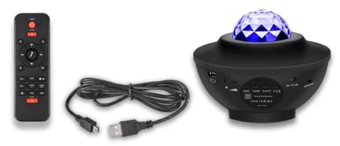 Galaxy Star Nebula Light Projector, remote control and USB power cable