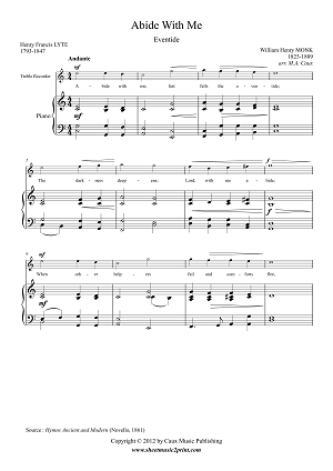 Abide With Me - Treble Recorder