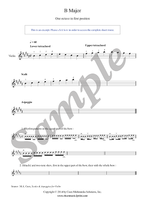 Violin : B Major Scale & Arpeggio - Grade 1