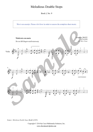 Trott : Melodious Double Stops Book I, No. 9