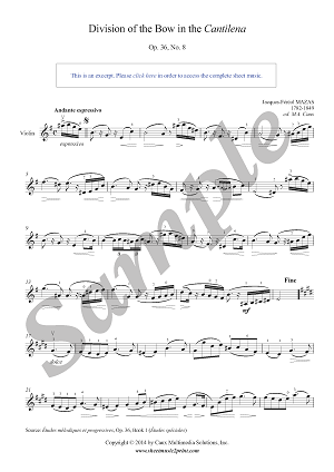 Mazas : Division of the Bow in the Cantilena, Op. 36, No. 8