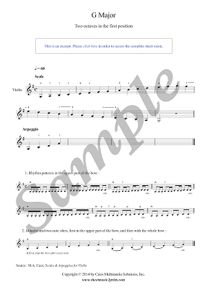 G Major Scale & Arpeggio for Violin - Grade 1