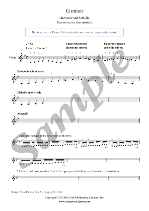 Violin : G minor Scales & Arpeggio - Grade 1