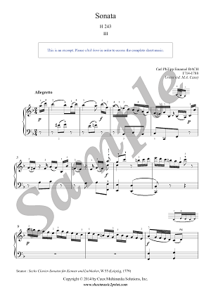 CPE Bach : Sonata in F Major, H 243, W 55/5 (3/3)