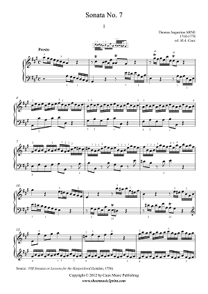 Arne : Sonata 7 in A Major (1/3)