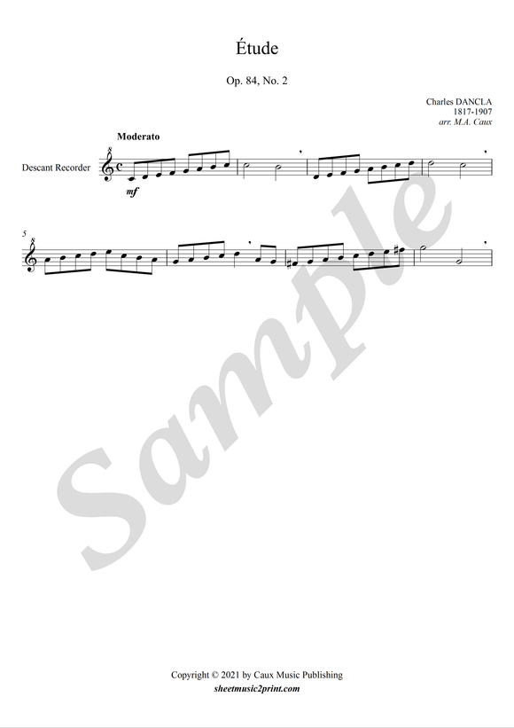 Study op. 84, no. 2 for descant recorder