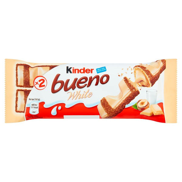 Kinder Bueno white x 2 bars with milk and hazelnuts