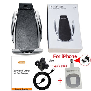 10W Wireless Car Charger S5 Automatic Clamping Fast Charging Phone Holder Mount iPhone