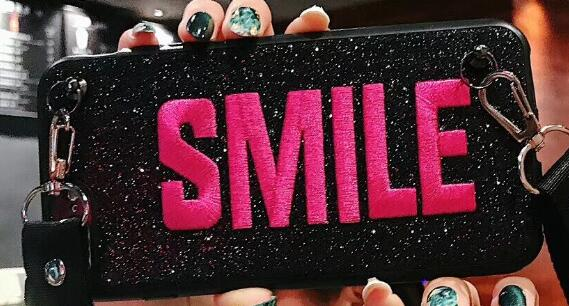 Embroidery Smile Crossbody Case with Strap  For Samsung note And IPhone