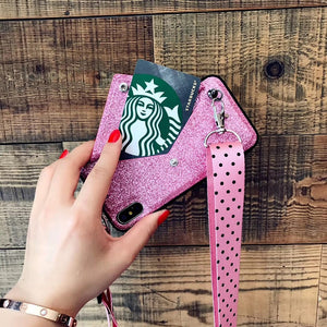 Luxury PINK Glitter Embroidery Leather Case for iPhone 7 7Plus Fashion Wave Point Lanyard Case For iphone XS Max X 8 6 6s Plus