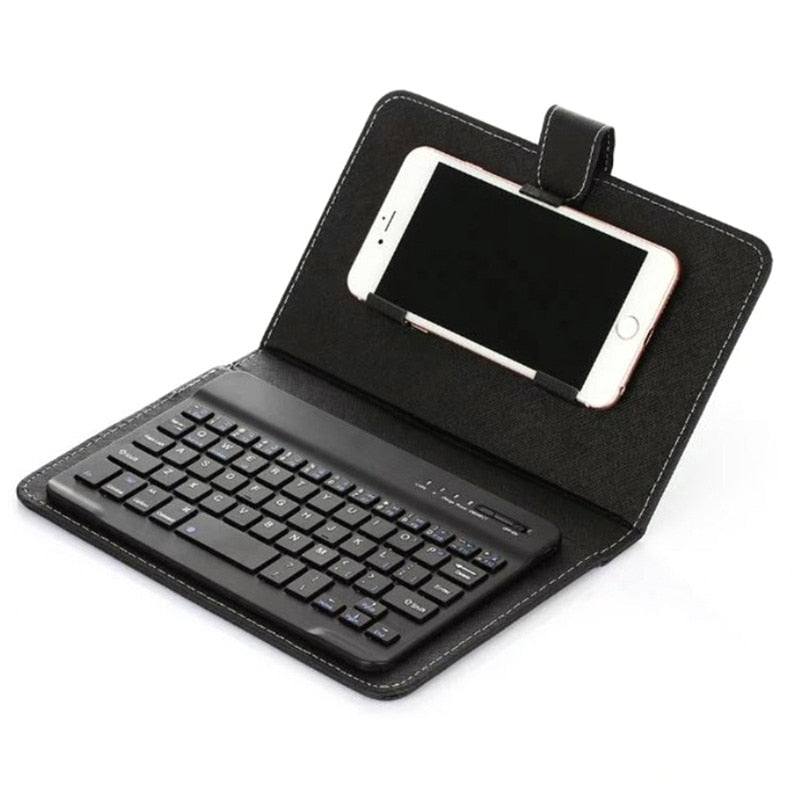 Portable Leather Wireless Keyboard Case for iPhone Protective Mobile Phone with Bluetooth Keyboard For IPhone Android Phone