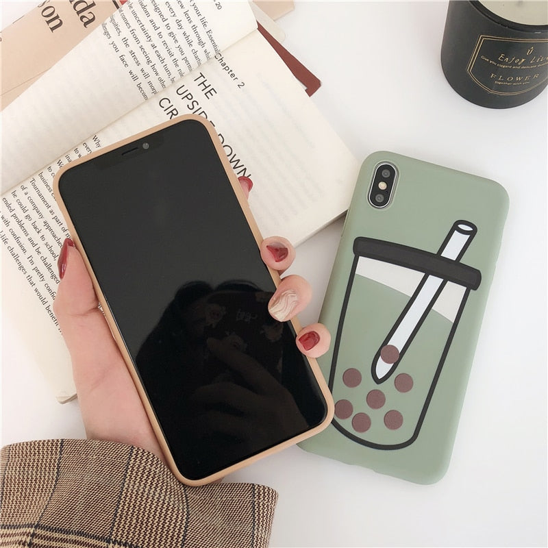 Bubble tea Matte phone case silicon For IPhone