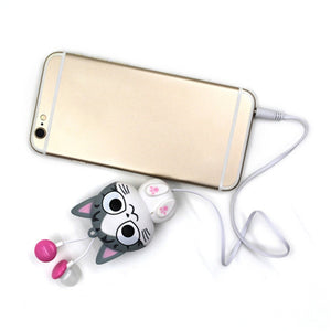 3.5 mm Wired Retractable In-Ear Headset Cartoon Cat/Panda Earpiece Clip Headset MP3 Headphone For iphone 6 6s 7s Samsung Xiaomi