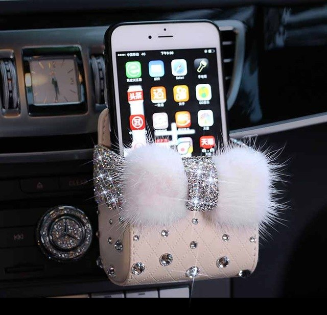 Leather Portable Car Storage Box Crystal Rhinestones Auto Outlet Air Vent Cosmetics Case Universal Mobile Phone Bag Pouch Bucket