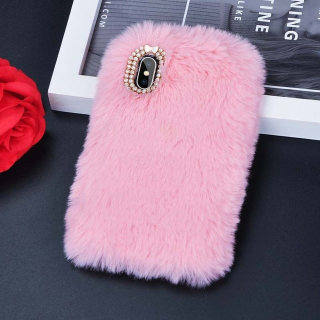 Tikitaka Faux Rabbit Fur Phone Case for iphone 8 7 6 6S Plus Luxury Bling Plush Furry Cover For iPhone X XS Max XR 5 5S SE Funda