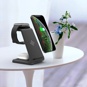 3 in 1 Wireless Charger QI 10W Fast Charge For iPhone For Samsung Buds Wireless Charger Stand Dock For Apple Watch Airpods Pro
