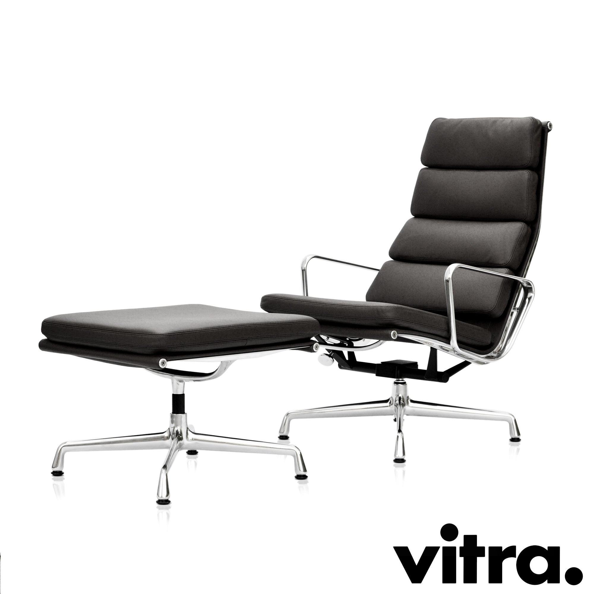 Vitra - Eames Soft Pad Chair EA 222 + Stool EA 223 - Set Angebot