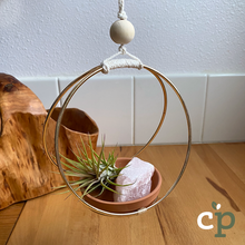 Load image into Gallery viewer, Hanging Air Plant Kit Macrame Rose Quartz