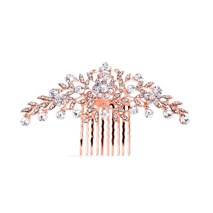 Whitney Bridal Hair Comb -  Rose Gold - Roman & French