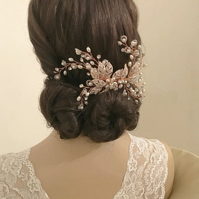 Agen Bridal Hair Comb (Rose Gold)