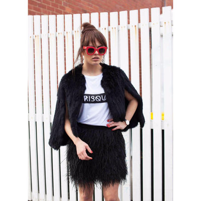 Aimer Fur Cape in Black