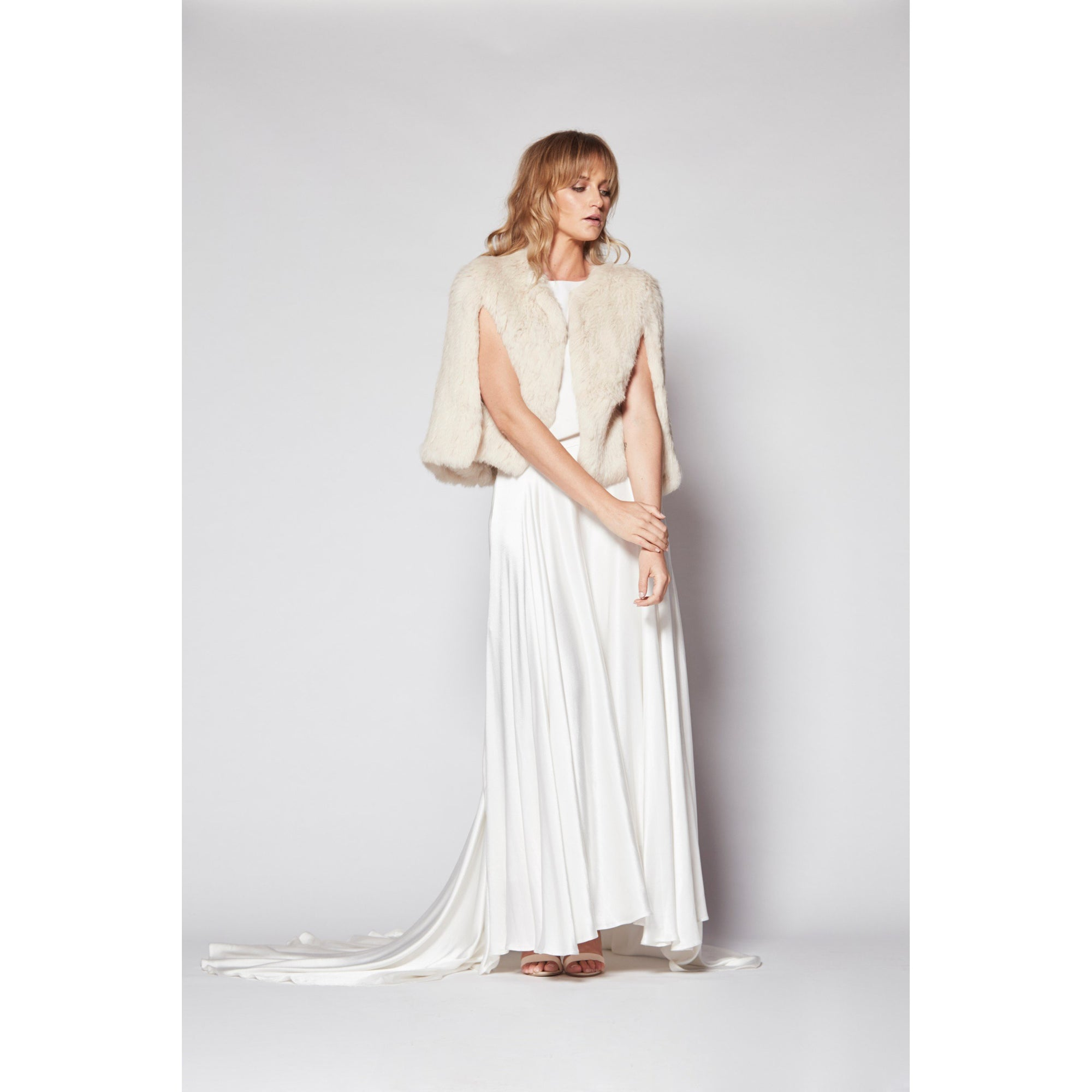 Aimer Fur Cape in Shell - Bridal Cover-Up - Couture - Roman & French