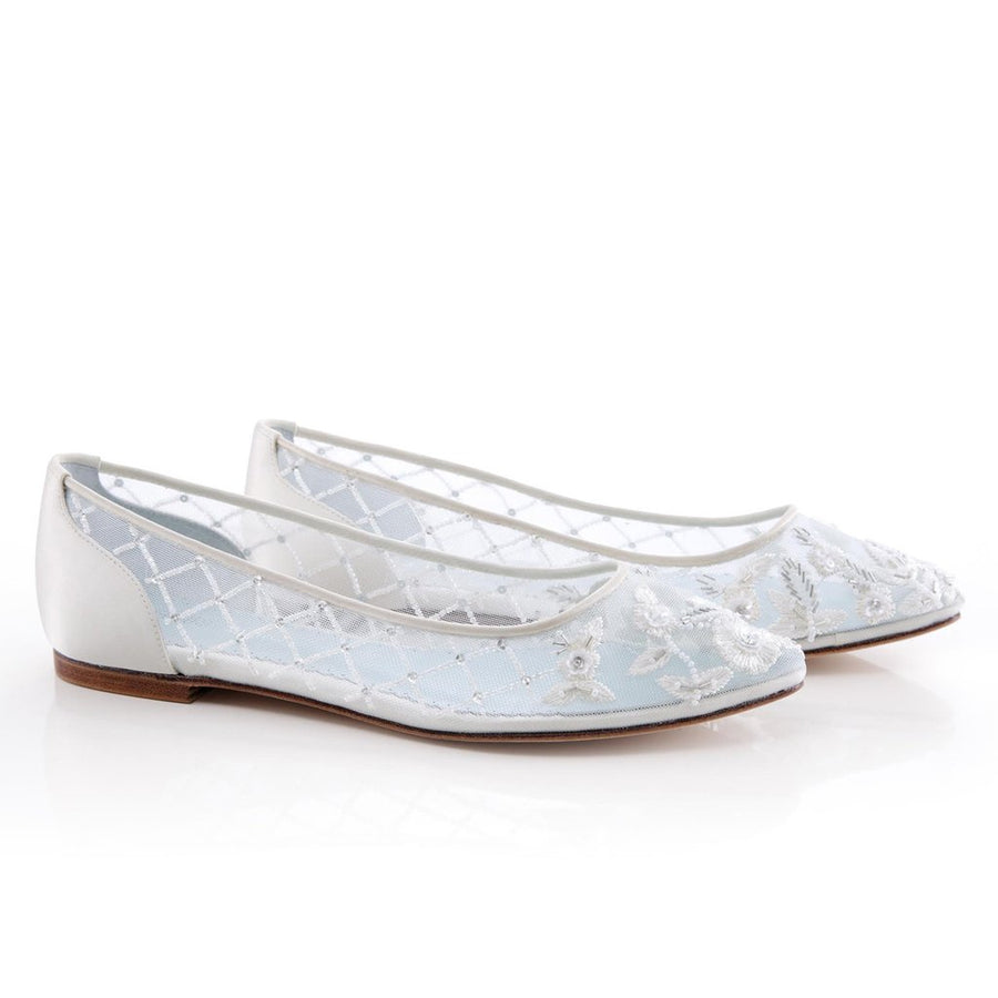 4aed99fae1ce Allegra - Comfortable Beaded Wedding Flats - Bridal Shoes - Roman   French